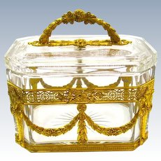High Quality French Napoleon III Dore Bronze and Crystal Casket and Cover.