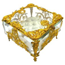 Large High Quality French Napoleon III Dore Bronze and Crystal Jewellery Casket