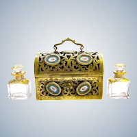 Antique French 'Sevres' Dore Bronze and Porcelain Perfume Casket and Key.