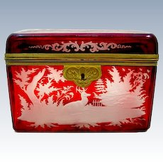 Large Antique Bohemian Ruby Red Casket Engraved with Woodland Scenes with Deer, Birds and Dogs.