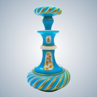 Antique MOSER Turquoise Blue and White Opaline Overlay Perfume Bottle and Stopper.