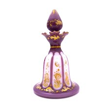 Rare Antique Bohemian Purple and White Overlaid Opaline Perfume Bottle and Stopper.