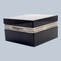 Antique Murano Black Opaline Glass Square Casket Box.
