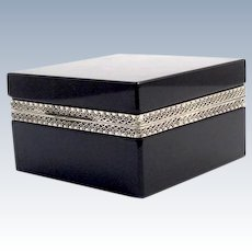 Antique Murano Black Opaline Glass Square Casket Box with Smooth 'Silver' Mounts and Lift Clasp.