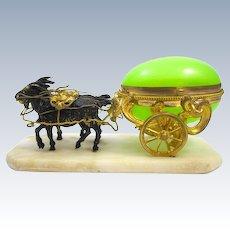 Antique Palais Royal Dore Bronze Cart with an Original Green Opaline Glass Egg Box Ring Holder.