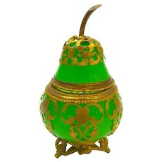 Rare Antique Palais Royal Green Opaline Glass Pear Box
