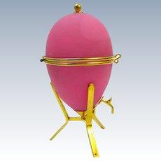 Wonderful and Rare Antique Pink Opaline Glass Egg Shaped Box with Dore Bronze Mounted Bronze Spiggot Tap.