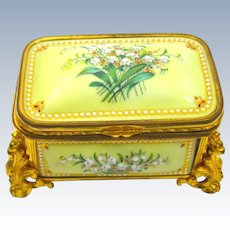 Super Palais Royal Antique Yellow'Bombe' Jewel Casket with EnamelledPanels by Tahan.