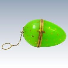 XL Large Antique Palais Royal Green Opaline Glass Egg Chatelaine
