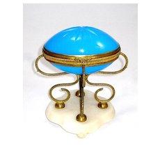 Large Palais Royal Blue Opaline Egg on Marble Base