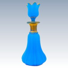 Antique Baccarat Blue Opaline Glass Perfume Bottle and Flower Stopper.