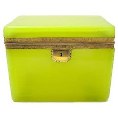 RARE Large Antique French Yellow Opaline Glass Casket Box