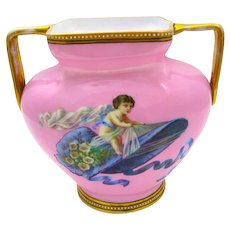 Antique French Pink Opaline Glass Vase with Double Handles with Hand Painted Cherub