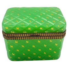 Antique French Green Opaline Glass Casket Box with Gilded Flowers .