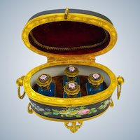 Antique French Porcelain Perfume Casket with Beautiful Hand Painted Flowers Throughout and Cherub Miniature.