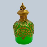 Antique Palais Royal Green Opaline Glass Perfume Bottle and Unusual Dore Bronze Stopper.