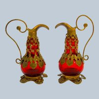 A Pair of Antique French Palais Royal Miniature  Glass Ewers .