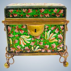 Antique MOSER Bohemian Emerald Green Casket Box Enamelled with Colourful Flowers Throughout.