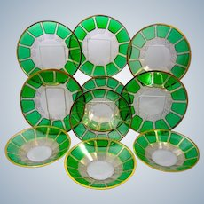 Set of 10 Antique MOSER Bohemian Green Cut to Clear Three Layer Cased Glass Plates