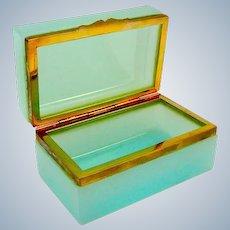 Antique Murano Mint Opaline Glass Casket Box with Smooth Dore Bronze Mounts.