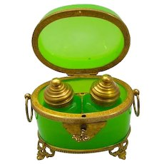 Antique Baccarat French Green Opaline Glass Perfume Casket