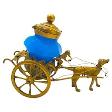 Palais Royal Dore Bronze Cart Ink Pot Pulled by a Dog and Monkey