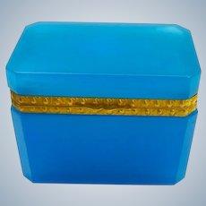 Antique French Rectangular Blue Opaline Casket Box with Fancy Dore Bronze Mounts