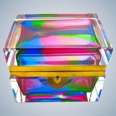 "Rare Vintage Italian Murano ""Rainbow' Glass Casket Box with Smooth Mounts."