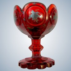 Antique Bohemian Deep Ruby Red Glass Silver Enamelled Bowl.