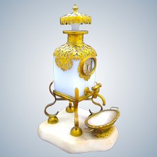Wonderful and Rare Antique Palais Royal Opaline Glass and Dore Bronze Mounted Perfume Bottle Dispenser.