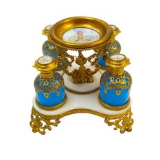 Large Antique Palais Royal Opaline Glass Perfume Set on a Marble Base