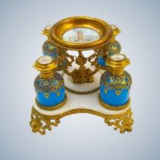 Large Antique Palais Royal Opaline Glass Perfume Set on a Marble Base