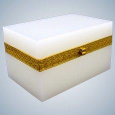 Antique Rectangular White Opaline Glass Casket Box