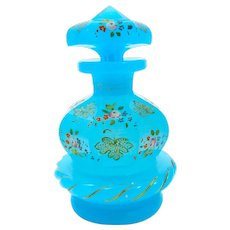 Rare Antique Blue Opaline Enamelled Glass Perfume Bottle