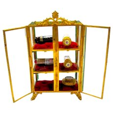 Antique French Vitrine Box with 2 Opening Beveled Glass Doors and 3 Cushioned Shelves.