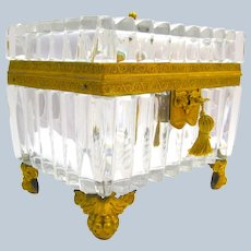 Rare LARGE Superb Empire Baccarat Cut and Ribbed Crystal Casket with Fine Dore Bronze Mounts.