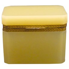 Rare Antique Murano Custard Yellow Opaline Glass Casket Box.