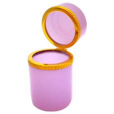 Antique Cylindrical Pink 'Alexandrite' Glass Casket Box with Intricate Dore Bronze Mounts.