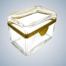 Antique French Glass Casket Box with Smooth Dore Bronze  Mounts