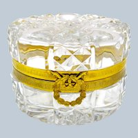 Antique BACCARAT Round Cut Crystal Casket Box with Bow.