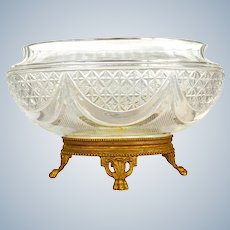 Antique French Cut Crystal and Dore Bronze Jardiniere.