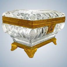Large Antique High Quality Baccarat Rectangular Cut CrystalCasket