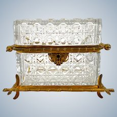 Antique French Cut Crystal Casket Box with Dore BronzeBamboo Style Mounts.