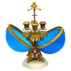 A Large Antique Palais Royal Blue Opaline Glass Perfume Casket.