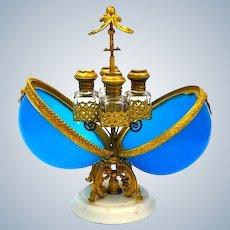A Large Antique Palais Royal Blue Opaline Glass Perfume Casket.