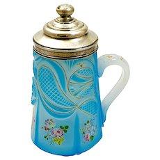 RARE Antique Bohemian Blue 'Barfatan' Opaline Enamelled Glass Tankard with Original Silver Hallmarked Lid.