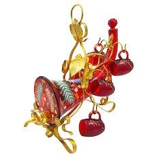 Stunning Antique MOSER Ruby Red Enamelled Cornucopia Decanter Set