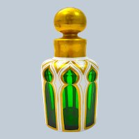 Antique Bohemian Green and White Perfume Bottle Highlighted in Gold.
