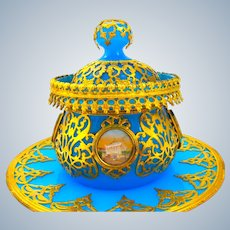 Antique Palais Royal Blue Opaline Glass Set Comprising of Plate, Bowl and Cover.