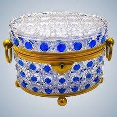 Antique BACCARAT Cobalt Blue Hobnail Cut Crystal Casket